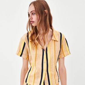 ZARA- linen  striped short sleeve v-neck top